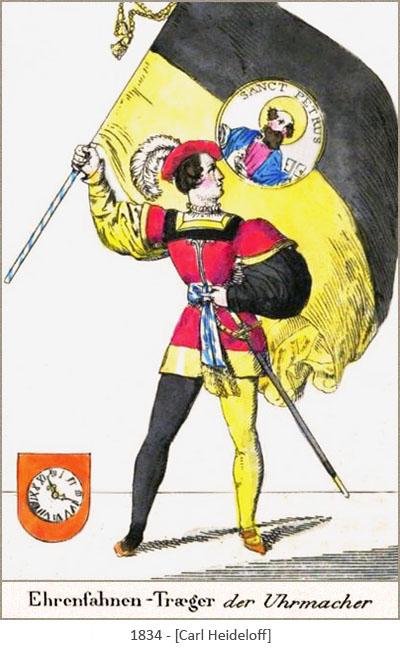 kolorierte Zeichnung: Ehrenfahnenträger der Uhrmacher Zunft - 1834