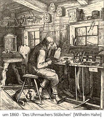 Zeichnung: Uhrmacher arbeitet in seinem Stübchen ~1860