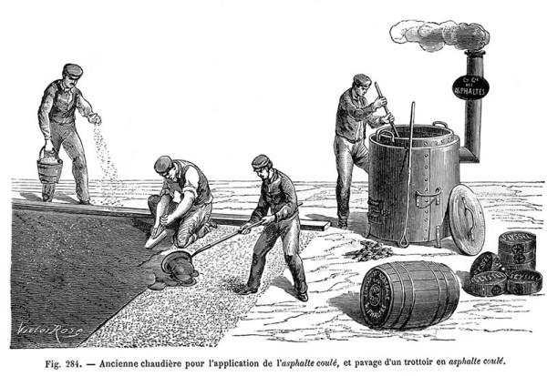 sw-Zeichnung; Arbeiter asphaltieren Straße