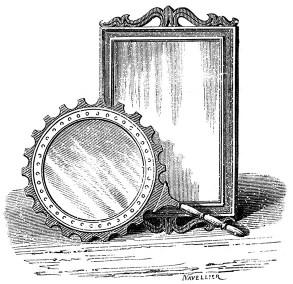 sw-Zeichnung: ein eckiger und ein runder Spiegel