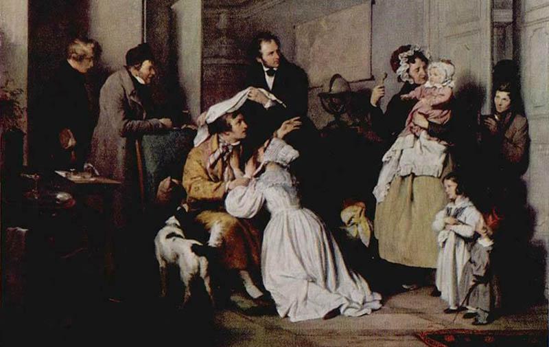 Gemälde: viele Patienten beim Augenarzt in der Stube