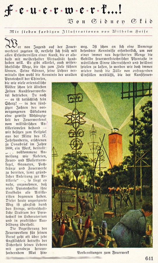 Beitrag in einer Illustrierten zum Thema Feuerwerk