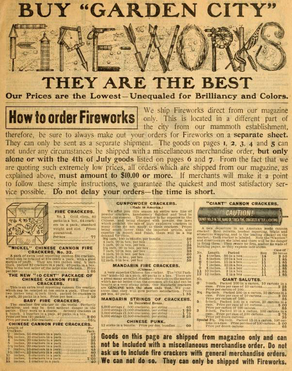 alte amerikanische Katalogseite: Feuerwerkskörper