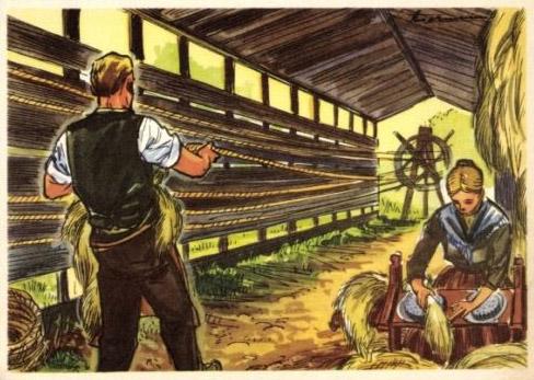 Ansichtskarte: Frau bearbeitet Hanf oder Flachs, Mann steht an Seilbahn