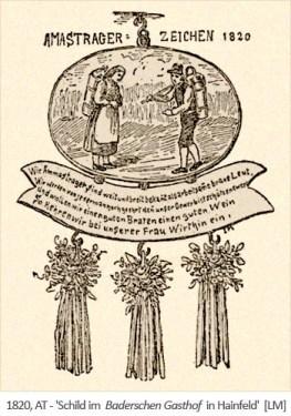 Zeichnung: Amastrager-Schild in einem Gasthof - 1820, AT