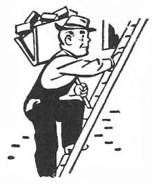 sw-illu: Arbeiter steigt Leiter hoch
