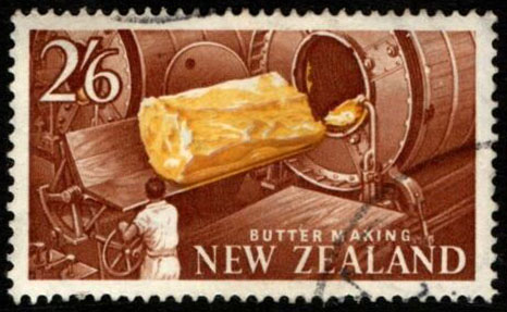 Briefmarke: große Buttermaschine
