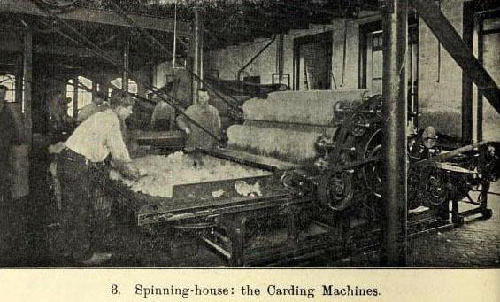 sw-Foto: Spinnhaus: Cardingmaschine
