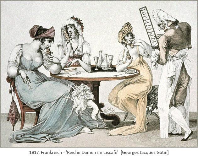 kolorierter Stich: 3 reiche Damen im Eiscafè - 1817, Frankreich