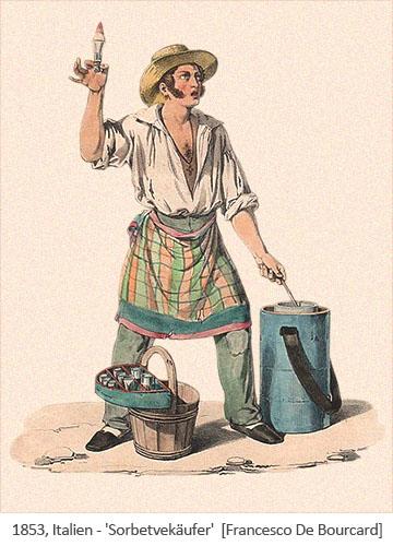 Farblitho: ambulanter Sorbetverkäufer - 1853, Italien