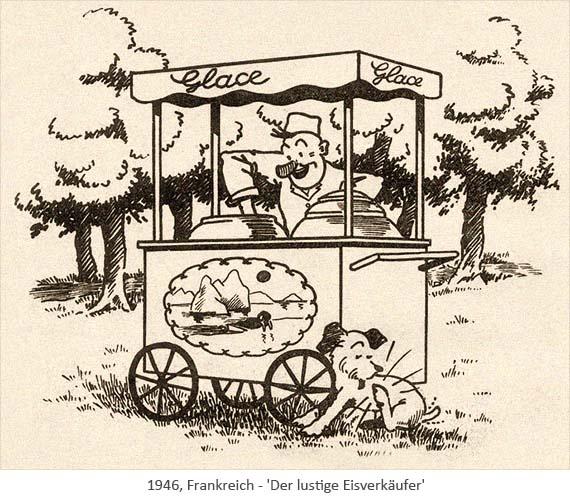 Federzeichnung: lustiger Eisverkäufer mit Hund vor seinem Wägelchen - 1946, Frankreich