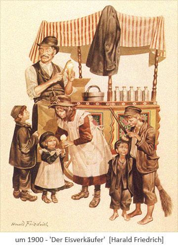 Farblitho: Kindergruppe bei einem mobilen Eisverkäufer ~1900