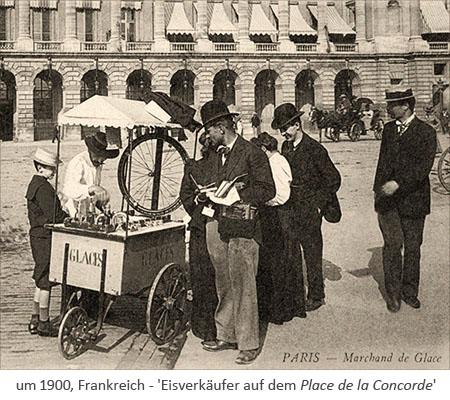 sw Fotopostkarte: Pariser Eisverkäufer auf dem Place de la Concorde ~1900, Frankreich
