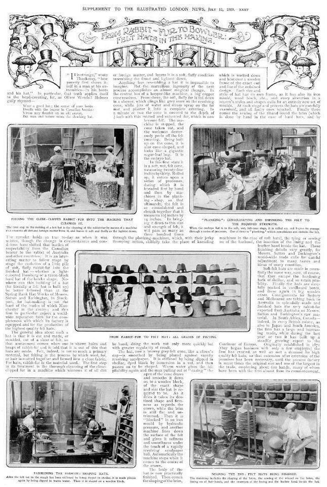 englischer Hutmacherbeitrag einer Zeitung