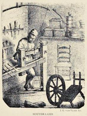 alte Zeichnung: Hutmacher am Arbeitsgerät