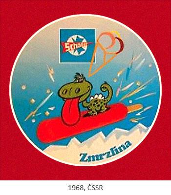 Farbposter: kleiner Drache schlittert auf Stieleis über Schnee - 1968, ČSSR