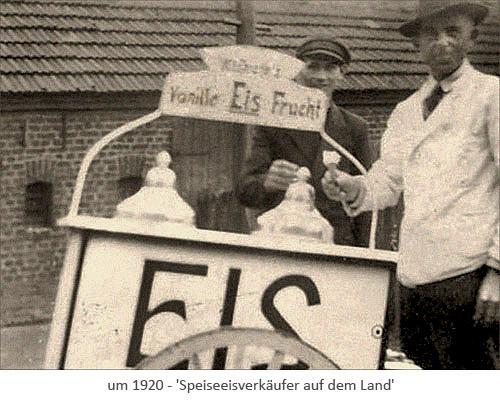 sw Foto: Verkäufer von Vanille- und Fruchteis auf dem Land ~1920