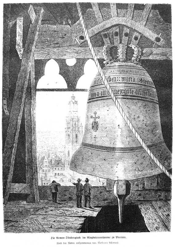 sw-Zeichnung: riesige Glocke im Turm