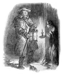 Frau mit Kerze an der Tür trifft auf Nachtwächter