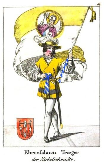 Mann in prachtvoller Kleidung mit großer Fahne