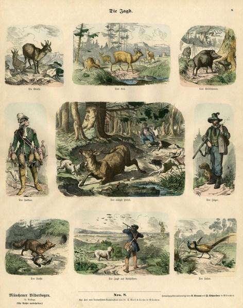 neun Abbildungen zur Jagd