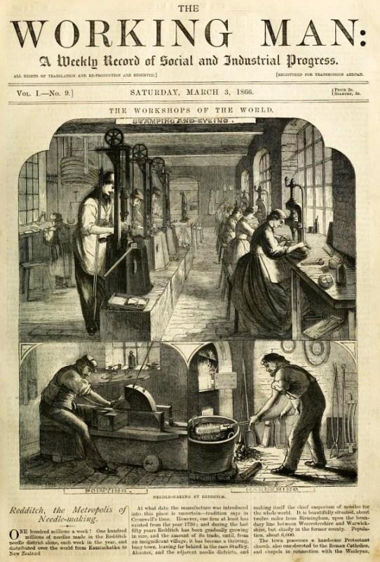 Titelseite englische Zeitung: Einblick in Nadelfabrik