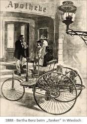 """getuschte Zeichnung: Bertha Benz beim """"Tanken"""" in der Wieslocher Apotheke - 1888"""