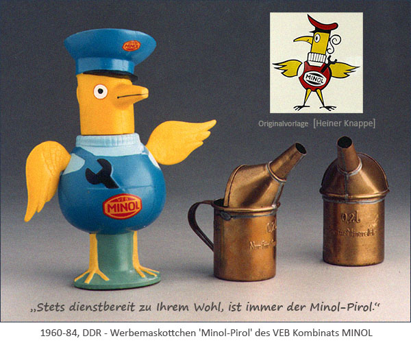 Farbfoto: Werbemaskottchen 'Minol-Pirol' des VEB Kombinats MINOL - 1960-84, DDR