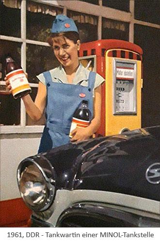 Farbfoto: Tankwartin einer MINOL-Tankstelle - 1961, DDR