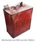 Farbfoto: roter Beninkanister von SHELL aus den 1930er Jahren