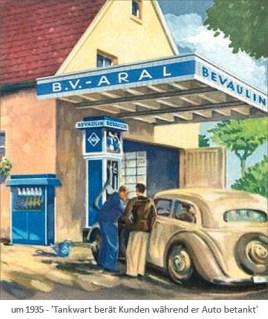 Farblitho: Tankwart berät Kunden während er Auto betankt ~1935