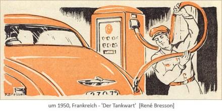 Zweifarbendruck: Tankwart, der beim Betanken den Tankschlauch hoch hält~1950, Frankreich