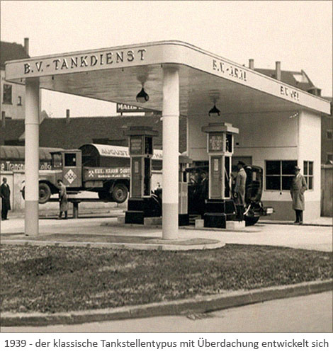 sw Foto: der klassische Tankstellentypus mit Überdachung entwickelt sich - 1939