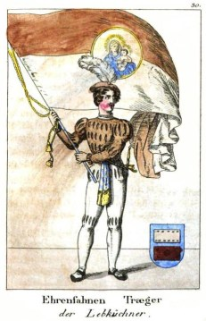 Mann in Kostüm mit großer Fahne