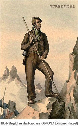 Farblitho: Bergführer des Forschers RAMOND in den Pyrenäen - 1834, Frankreich