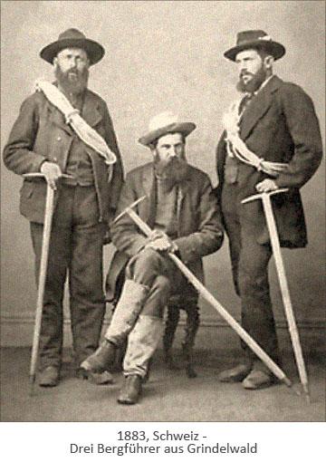sw Foto: drei Bergführer aus Grindelwald - 1883, Schweiz