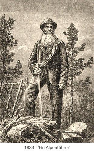 Holzstich: Ein Alpenführer mit langem Bart - 1883