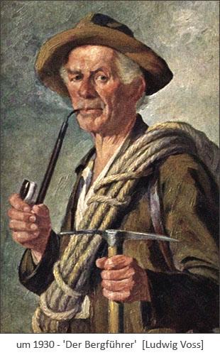 Gemälde: älterer Bergführer mit Langpfeife ~1930