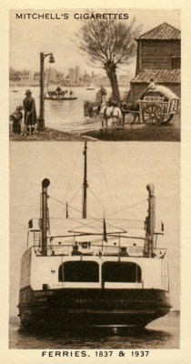 altes Sammelbild: Fähre 1837 und 1937
