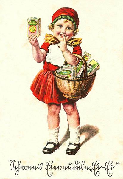 historische Reklamekarte: Mädchen im Rotkäppchenkostüm wirbt für Nudeln
