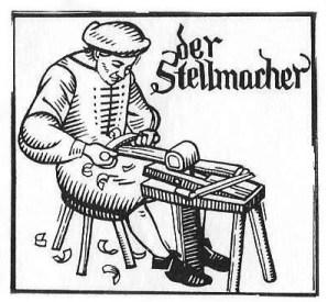 alte sw-Vignette Stellmacher beim Schnitzen
