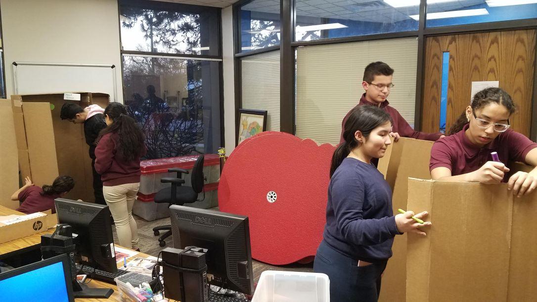 Volunteers Creating Minigolf Decorations