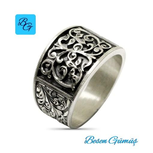 Erzurum Kalem İşi Taşsız Gümüş Erkek Yüzük