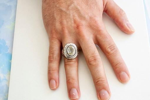 Topaz Taşlı Erkek Gümüş Yüzük