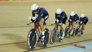 RIO DE JANEIRO, BRAZIL - AUGUST 13:  Team United States competes in the Women's Team Pursuit on Day 8 of the Rio 2016 Olympic Games at the Rio Olympic Velodrome on August 13, 2016 in Rio de Janeiro, Brazil.  (Photo by Bryn Lennon/Getty Images)