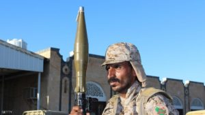 A fighter loyal to Yemen's President Abedrabbo Mansour Hadi holds a Rocket Propelled Grenade (RPG) as he guards a position in Shabwa, east of the Red Sea port of Aden, on December 21, 2015. A fresh bout of deadly fighting and air strikes hit Yemen this week despite an extended ceasefire agreement between the warring factions that was violated on a daily basis since it came into effect on December 15, in conjunction with UN-brokered peace talks in Switzerland. Fighting took place on December 21 in other parts of the Arabian Peninsula country, including the northern provinces of Hajja and Jawf, strongholds of the Shiite Huthi rebels, as well as Shabwa in central Yemen. AFP PHOTO/SALEH AL-OBEIDI / AFP / SALEH AL-OBEIDI        (Photo credit should read SALEH AL-OBEIDI/AFP/Getty Images)