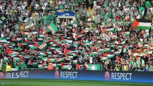 during the UEFA Champions League Play-off First leg match between Celtic and Hapoel Beer-Sheva at Celtic Park on August 17, 2016 in Glasgow, Scotland.