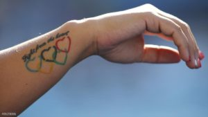 2016 Rio Olympics - Waterpolo - Olympic Park - Rio de Janeiro, Brazil - 05/08/2016. Barbara Bujka (HUN) of Hungary shows tattoo.        REUTERS/Laszlo Balogh  TPX IMAGES OF THE DAY FOR EDITORIAL USE ONLY. NOT FOR SALE FOR MARKETING OR ADVERTISING CAMPAIGNS.