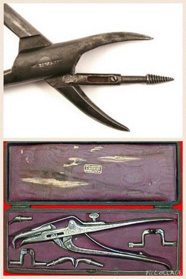 عدة طبيب الأسنان في القرن الماضي