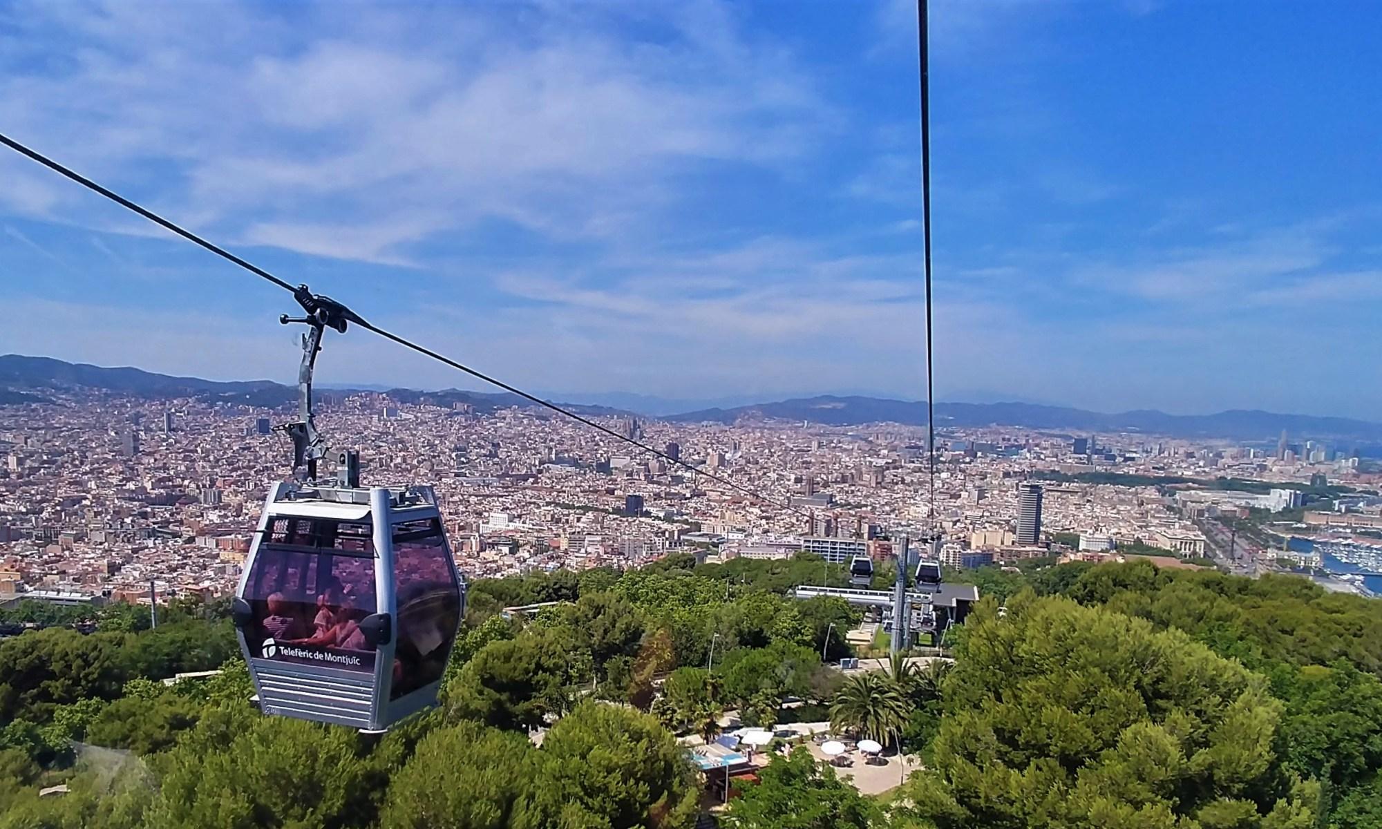 Barcelona, Spain – June 23, 2019: Cable car from Montjuïc to Drassanes at Barcelona Port.